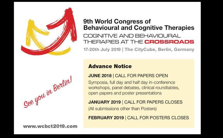 9ο Παγκόσμιο Συνέδριο Συμπεριφορικών και Γνωσιακών Θεραπειών, Βερολίνο, 17-20/7/2019